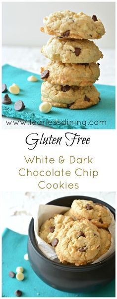 Easy gluten free white and dark chocolate chip cookies are crunchy soft and delicious snack. Recipe at http://www.fearlessdining.com
