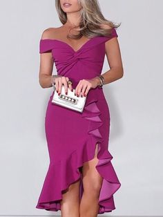 Sum All Chic, Shop Purple Off Shoulder Ruffle Irregular Bodycon Prom Evening Party Maxi Dress online. Bridesmaid Dresses, Prom Dresses, Formal Dresses, Dress Up, Bodycon Dress, Trend Fashion, Mexican Dresses, Classy Outfits, Dress Patterns