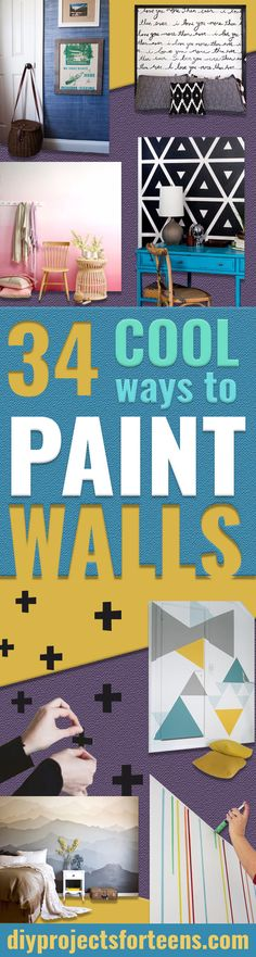 DIY Ideas for Painting Walls - Cool Ways To Paint A Walls In Bedroom- Room Painting Idea - Techniques, Tips, Stencils, Tutorials, Fun Colors and Creative Designs for Living Room, Bedroom, Kids Room, Bathroom and Kitchen #homeimprovement #diydecor #roomideas #teenrooms #walldecor #paintingideas Kids Room Design, Wall Design, Diy Design, Design Ideas, Color 2017, Kids Room Paint, Kids Rooms, Wall Paint Colors, Room Colors