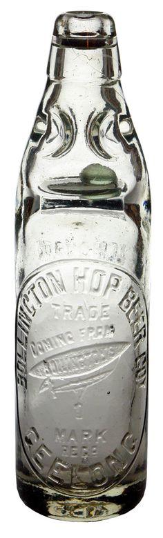 Bollington Hop Beer Coy Geelong. Airship trade mark. Lemonade. Clear glass 13 oz Codd or Marble bottle