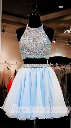 Pretty Halter Two Piece Short Prom Dresses,Homecoming Dresses,Cocktail Dresses http://www.luulla.com/product/552533/2016-beautiful-short-prom-dresses-light-sky-blue-homecoming-dresses-two-pieces-cocktail-dresses-backless-graduation-dresses-for-teens