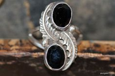 Vintage Navajo Style Sterling Silver Faceted Black Onyx Ring -New Old Store Stock