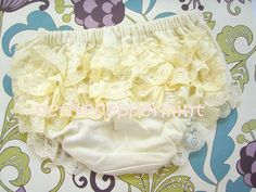 Ivory Ruffle Baby Bloomer Diaper Cover on Etsy, £4.88