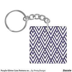 Purple Glitter Line Pattern on Keychain