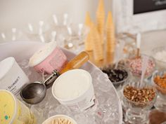 Don't eat ice cream from the carton: Set up a sundae bar inspired by old-fashioned parlors and invite friends over for an ice cream social.