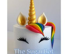 "Edible Unicorn Cake Decoration for 6"" or 7"" Round Cake, Rainbow, Glitter, Cupcakes"