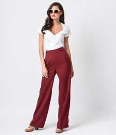 Banned 1940s Burgundy High Waist Party On Stretch Sailor Pants