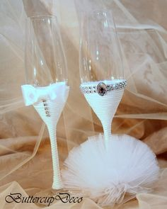 Items similar to Wedding Glasses; Set of 2 hand decorated Champagne Glasses for bride and groom or Bridesmaids on Etsy Diy Wine Glasses, Glitter Glasses, Decorated Wine Glasses, Painted Wine Glasses, Wedding Champagne Flutes, Wedding Glasses, Champagne Glasses, Bride And Groom Glasses, Wedding Cups