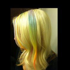My rainbow hair chalk!! <3. #rainbow #hairchalking