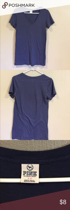 Victoria's Secret Pink tshirt Navy blue, cotton, Pink tshirt, perfectly worn in, in great shape, so comfortable! PINK Tops Tees - Short Sleeve