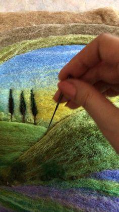 Wool Needle Felting, Nuno Felting, Rainbow House, Fuzzy Wuzzy, Art Drawings For Kids, Wool Art, Tulips Flowers, Lavender Fields, Felt Art