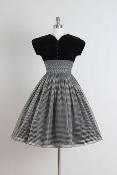 1950's Velvet and Chiffon Dress. I love this!