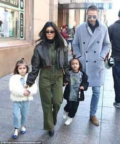 Kourtney Kardashian shops with Penelope and North West  Shes been treating her daughter and niece to a Big Apple excursion.  And Kourtney Kardashian kept the surprises coming as she was spotted with Penelope five and North West four leaving Tiffany & Co. on Saturday.  The 38-year-old reality star rocked a casual chic ensemble as she held the hands of the adorable cousins.  Family affair:Kourtney Kardashian 38 was spotted with Penelope five North West four and family friend Simon Huck leaving…