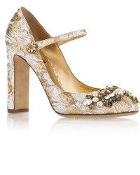 Dolce & Gabbana | Silk Cotton Metallic Mary Jane Pumps With Crystal Embellishment |  Lyst  ~ A bit tall, but GORGEOUS!