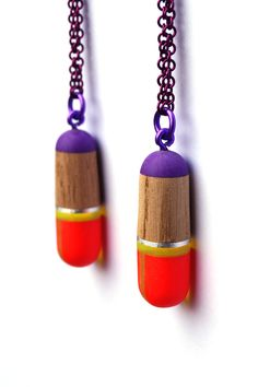 Helena Johansson Lindell, Purple/red/wood necklace, plastic, wood, copper, aluminum Painting Patterns, Color Patterns, Wood Necklace, Jewelry Art, Jewellery, Clay Art, Velvet, Drop Earrings, Jewels