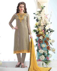 Grey   Magnificent Embroidered Georgette Salwar Kameez (Semi Stitched)       Fabric:   Georgette       Work:   Embroidered       Type:   Salwar Kameez (Semi   Stitched)       Color:   Grey                 Fabric Top   Georgette       Fabric Botto