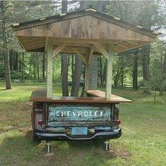 What a great idea for a rustic outdoor bar. What a great idea for a rustic outdoor bar. Car Part Furniture, Automotive Furniture, Automotive Decor, Furniture Ideas, Handmade Furniture, Rustic Furniture, Antique Furniture, Modern Furniture, Furniture Design