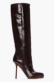 MAISON MARTIN MARGIELA Burgundy Leather Wood-Grain Heeled Boots