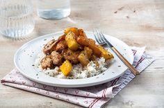 Koτόπουλο με καραμελωμένα φρούτα Poultry, Recipies, Meat, Chicken, Ethnic Recipes, Food, Recipes, Backyard Chickens, Essen