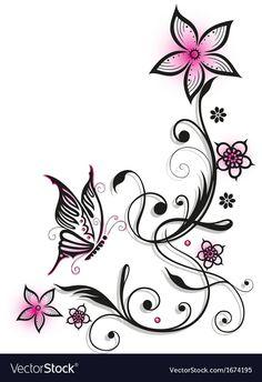 Flower Vine Tattoos, Butterfly Tattoos On Arm, Butterfly Drawing, Butterfly Tattoo Designs, Butterfly Wallpaper, Mom Tattoo Designs, Lace Tattoo Design, Art Mignon, Laser Art