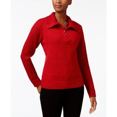 Karen Scott Wing-Collar Zip-Up Sweater, Created for Macy's ($20) ❤ liked on Polyvore featuring tops, sweaters, new red amore marl, zipper top, red zip up sweater, karen scott sweater, red sweater and zip sweater