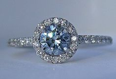 #Stylish #Saturday with #Capri #Jewelers #Arizona ~ www.caprijewelersaz.com ♥ Blue diamond in the Timeless Halo ring