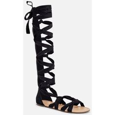 Justfab Flat Sandals Desislava ($30) ❤ liked on Polyvore featuring shoes, sandals, black, lace up flats, flat sandals, lace up platform sandals, tall gladiator sandals and platform sandals