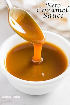 Keto caramel sauce made easily with 3 simple ingredients. No aftertaste at all you won't know it's sugar-free! Keto caramel sauce made easily with 3 simple ingredients. No aftertaste at all you won't know it's sugar-free! Ketogenic Recipes, Low Carb Recipes, Diet Recipes, Slimfast Recipes, Dessert Recipes, Keto Smoothie Recipes, Dessert Bread, Sugar Free Recipes, Protein Recipes