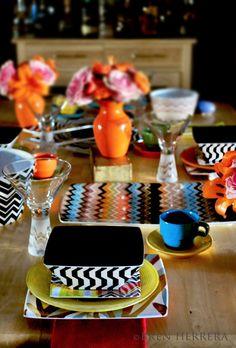 Tips & Tricks for a Vintage Inspired, Missoni Designer & Colorful TableScape