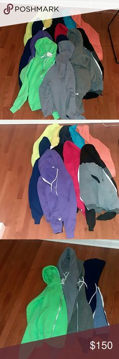 American Apparel Hoodie and Tee lot! 14 hoodies! American Apparel hoodies! Tees free! In this lot you will get neon green hoodie size XS nwt, gray hoodie nwt,  purple hoodie size small good condition (gc), gray hoodie XS nwot, dark blue hoodie size XS gc,  orange hoodie XS gc missing draw string, neon hoodie XS gc,  blue/pepper hoodie small nwt,  red hoodie size xsmall gc missing draw string, dark blue hoodie small gc size small. Black XS gc,  black/gray XS gc missing draw string, light blue…
