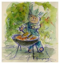 Barbecuing Bbq World, Bar B Que, Chuck Wagon, What's Cooking, What To Cook, Paintings, Drawings, Creative, Paint