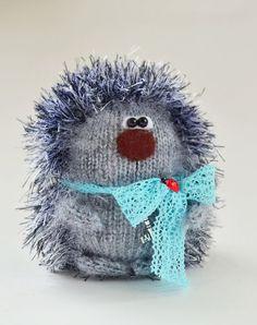 Grey hedgehog doll, knitted hedgehog hand knit hedgehog hand knit toy plush hedgehog wool toy plush hedgehog dolls, fuzzy hedgehog toy