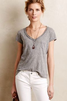 love this casual look but always feel like i have a hard time pulling it off...i'm way curvier than this!  Rolled V-Neck Tee - anthropologie.com