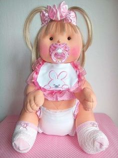 Hand embroidered doll, 55cm. £50