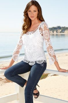 Medallion crochet top - Boston Proper