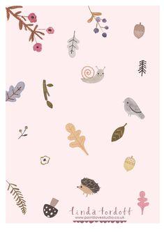 simple, design, autumn, pattern, kids, cute, pink, nature, hedgehog, mushroom