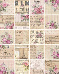 INSTANT DOWNLOAD digiTAL DoWnLOAds ShaBBY ChIc WrAPpiNG PaPEr FLoRaL ATC bAckGroUnDs FrENch EphEmeRa PrinNTaBLe PAriS ToUr EiFFeL, No. 56 via Etsy