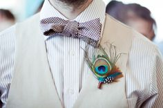 peacock feather boutonniere