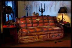 cool halloween party decorations | Caskit Coffin Sofa Cover for Haunted House Halloween Parties