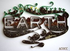 "Paper Quilling ""Earth"" Wall Art - Custom Build- 8 x10 - Part of Elements Series"