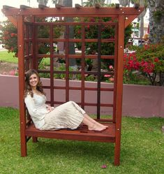 Shop online for Arbors at Forever Redwood. Hand-crafted Garden Arbor Bench available in custom sizes, shapes, and wood grades. Small Garden Arbour, Garden Arbor, Garden Gates, Arbor Bench, Wood Arbor, Pergola Designs, Pergola Kits, Pergola Ideas, Outdoor Living