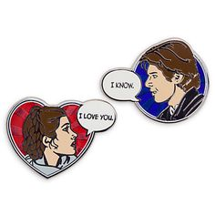 [Starry-eyed]Stick the star-crossed lovers of the <i>Star Wars</i> saga in your personal pin collection. The pop art comic book design duo of Han and Leia makes for a pretty pin pairing.