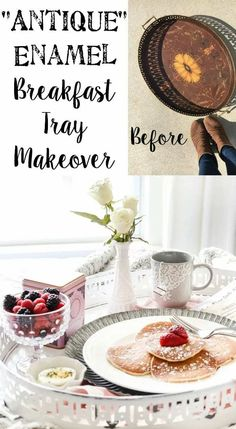 Enamel Breakfast Tray Makeover + Valentine's Date Q&A Postcard Printable | blesserhouse.com - A quick and easy antique style enamel breakfast tray makeover plus a Valentine's Date Q&A postcard free printable for a fun, no-fuss breakfast date in bed.