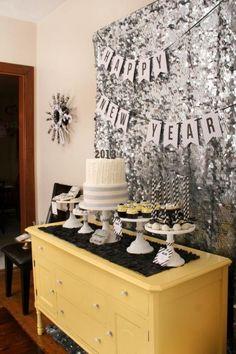 NYE Party Ideas - DIY sequin confetti backdrop
