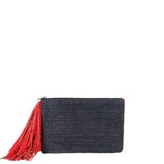 MZ Wallace Hamish Pouch with Fringe in Navy Straw Shop | For Spring/Summer 2014, we crafted our versatile Hamish pouch in smooth woven navy ...