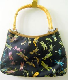 Womens Dragonfly Purse Bamboo Handles Threaded Colorful Design Inside Zipper #Unknown #2Handled