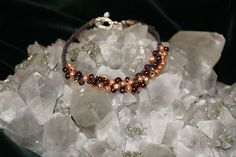 Brown Handcrafted Hemp with Garnet and Gold Glass Beads w/Metal Closure #Handmade