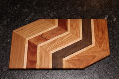 Six Wood Angled Pattern Cutting Board