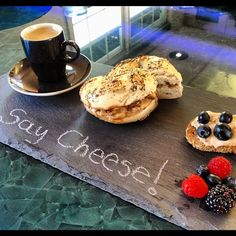 Cream cheeses on bagel and bread with espresso. I call that breakfast!! #artisanvegancheese submission by @ajolote1
