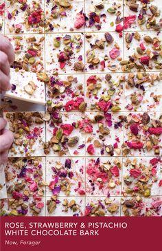 Rose, Strawberry & Pistachio White Chocolate Bark